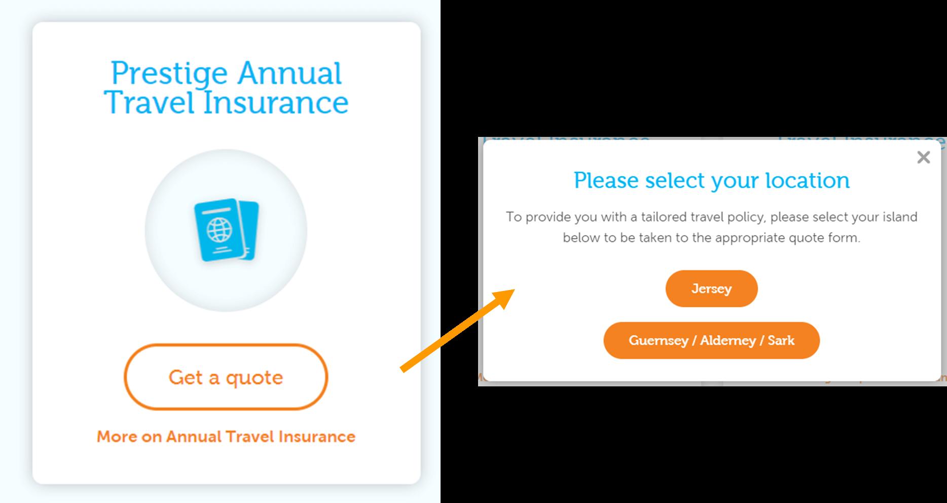 """Tính năng """"Get a quote"""" cho bảo hiểm du lịch dựa trên vị trí, nguồn: www.islands.insure"""